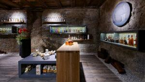 Inneneinrichtung und Beleuchtung Weinkeller, Weinhandlung