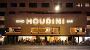 Aussenansicht des Kinos Houdini, Beleuchtung
